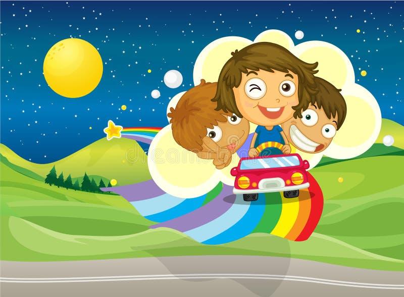 Drie jonge geitjes die op een auto berijden die over de regenboog overgaan stock illustratie