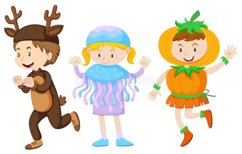Drie jonge geitjes in kostuums voor Halloween stock illustratie