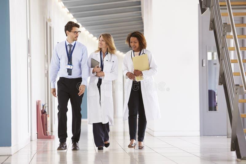 Drie jonge mannelijke en vrouwelijke artsen die in het ziekenhuis lopen royalty-vrije stock foto's