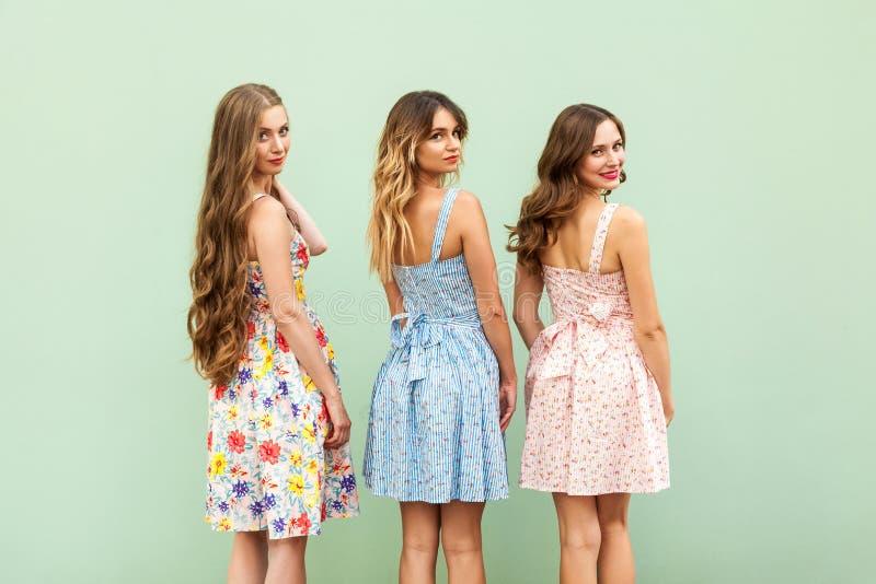Drie jonge vrouwelijke vrienden in leuke kleding keerden de schouder om stock foto's