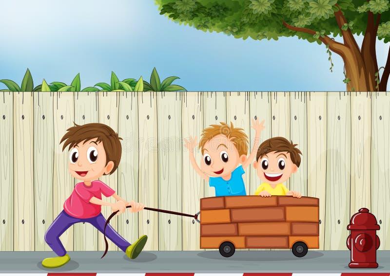 Drie jongens die dichtbij de houten muur spelen vector illustratie