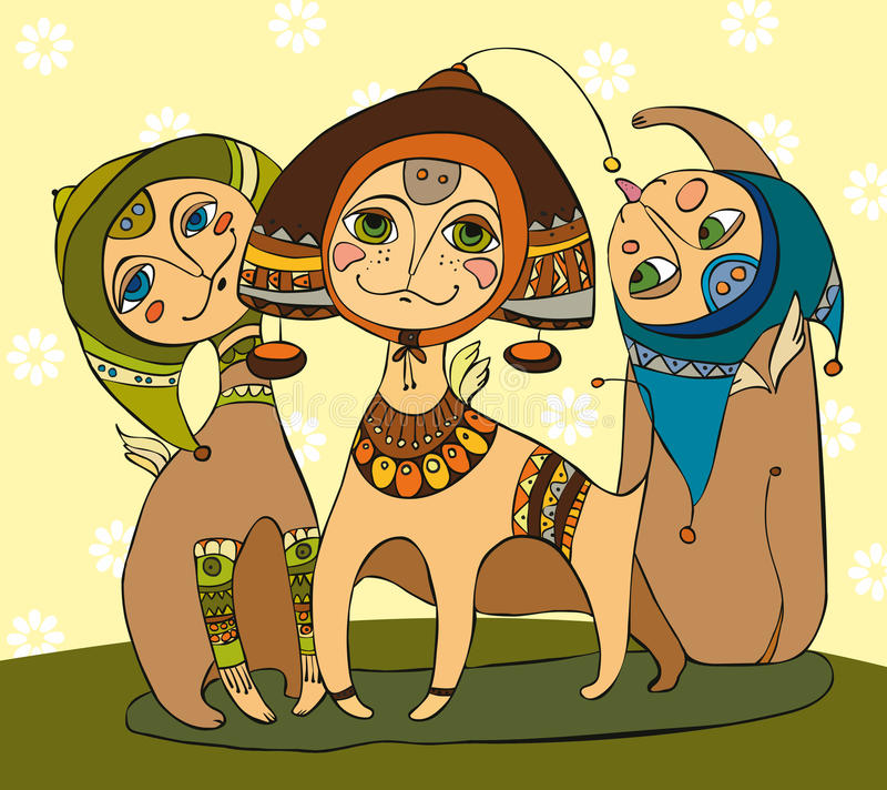 Drie Katjes stock illustratie
