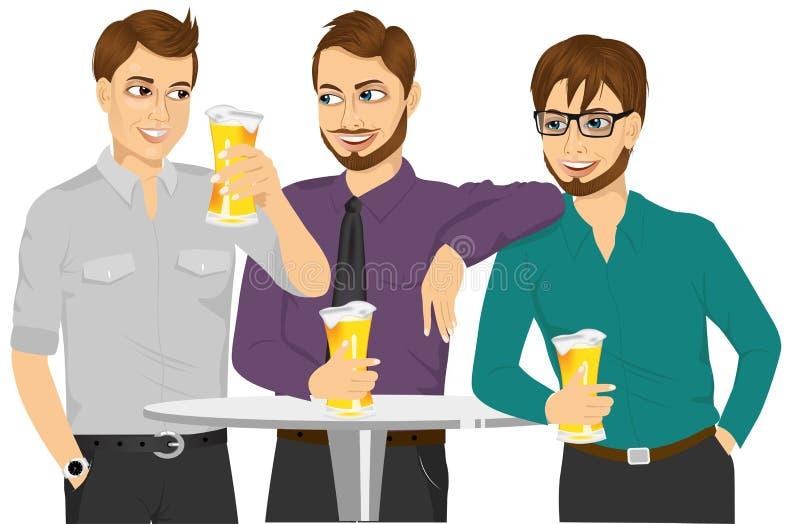 Drie Kaukasische vrienden die een bier drinken en over iets spreken stock illustratie