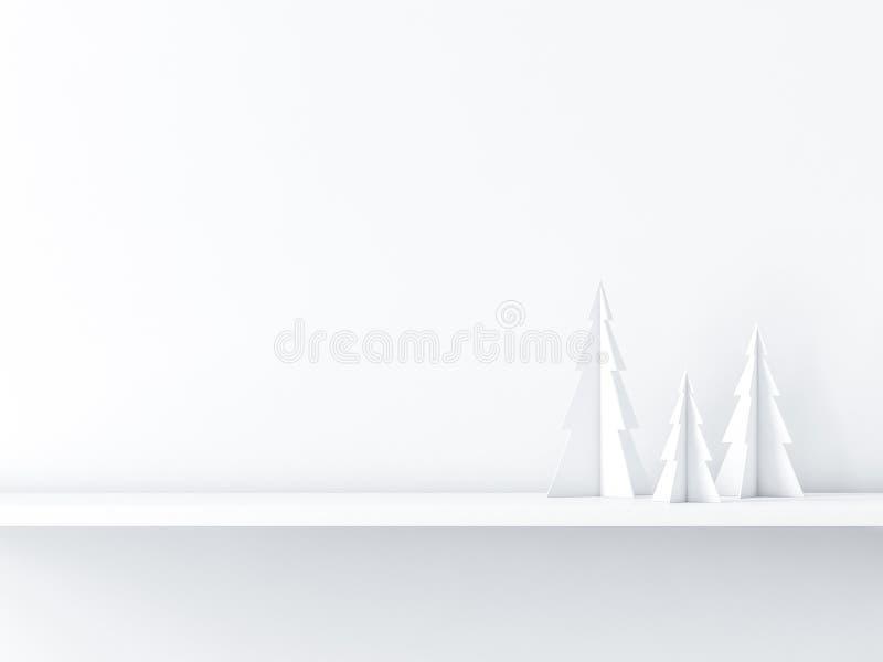 Drie Kerstmisbomen op witte plank, de achtergrond van de groetkaart stock illustratie