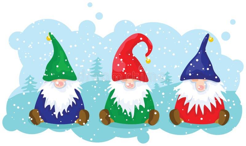 Drie Kerstmisdwergen stock illustratie