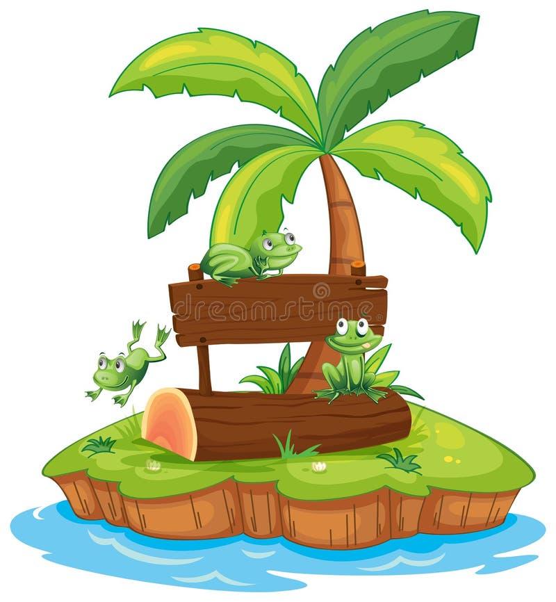 Drie kikkers en houten teken op eiland royalty-vrije illustratie