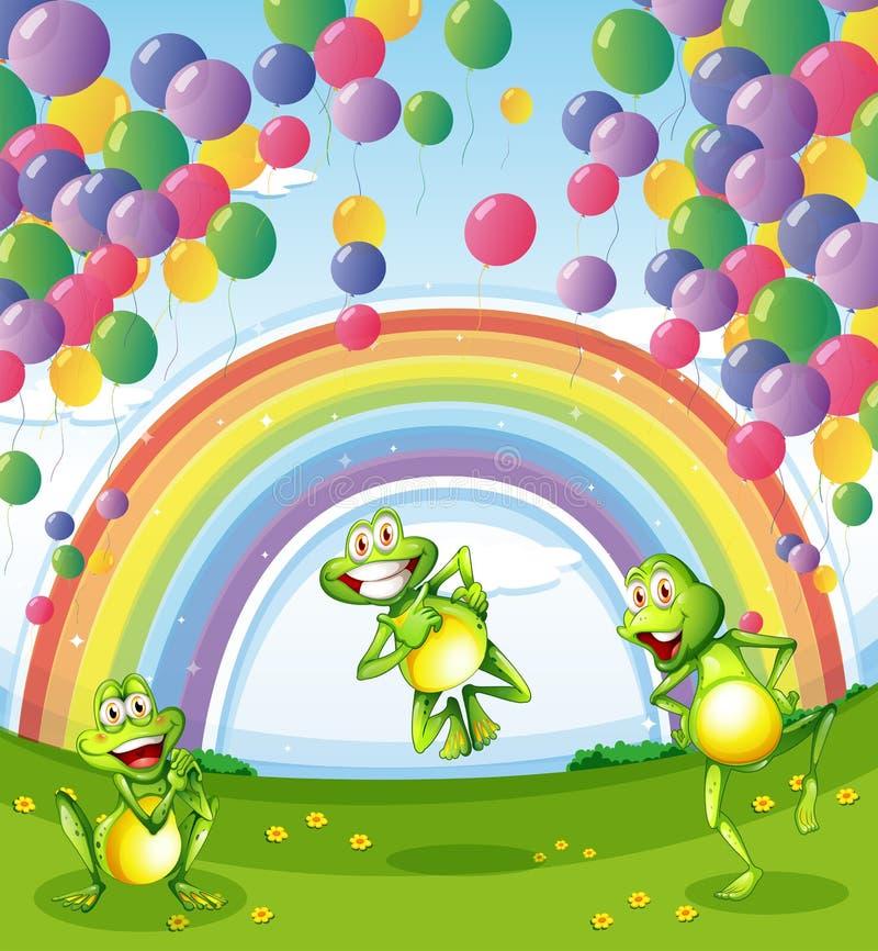 Drie kikkers onder de drijvende ballons dichtbij de regenboog royalty-vrije illustratie