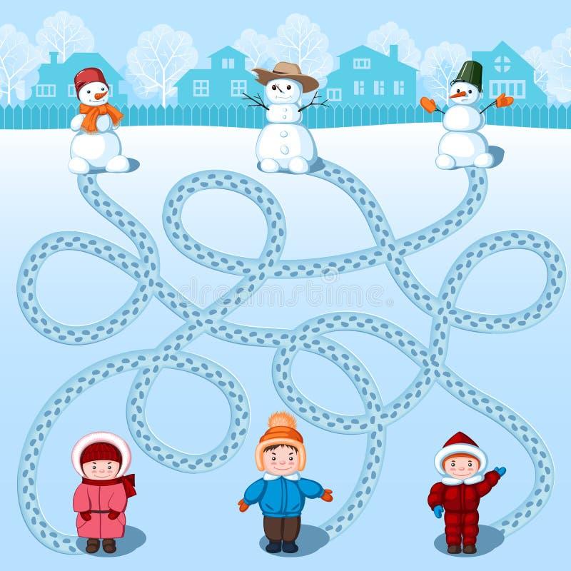 Drie kinderen maken drie sneeuwmannen Vind van wie waar is? Kinderen` s beeld met riddle vector illustratie