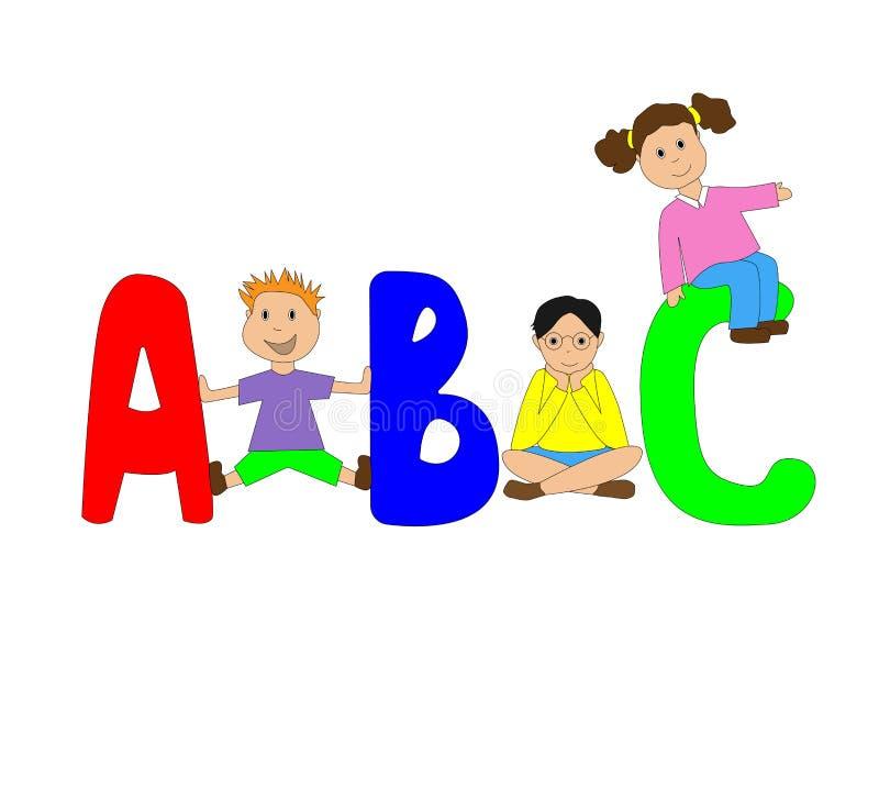 Drie kinderen tussen grote brieven royalty-vrije stock foto