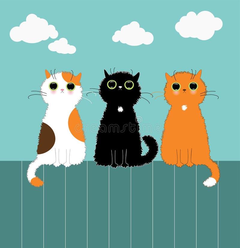 Drie kittys op omheining royalty-vrije illustratie