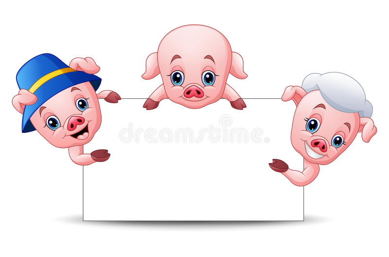 Drie klein varkensbeeldverhaal met leeg teken stock illustratie