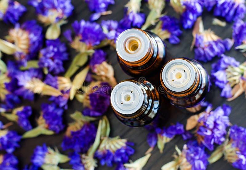 Drie kleine flessen met etherische oli?n Donkere houten achtergrond met blauwe droge bloemen Het concept van Aromatherapy en van  stock foto
