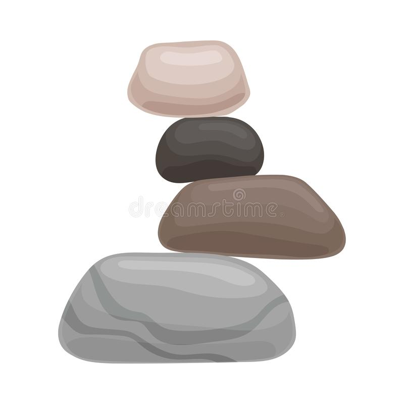 Drie kleine stenen liggen op grote  Vector illustratie op witte achtergrond vector illustratie
