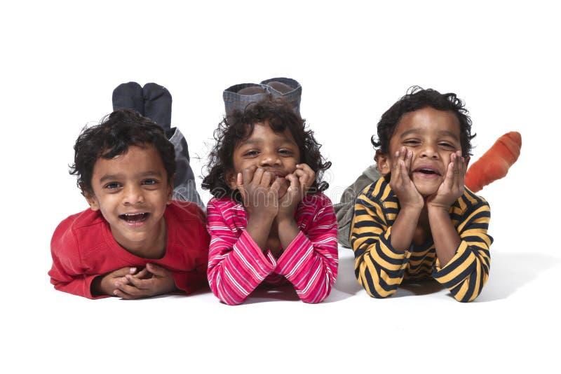 Drie kleine tweelingen royalty-vrije stock fotografie