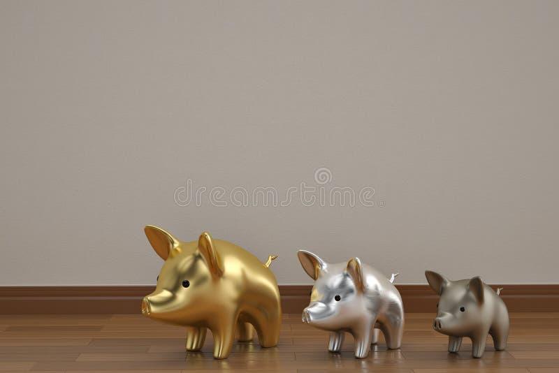 Drie kleine varkens op houten vloer 3D illustratie stock illustratie