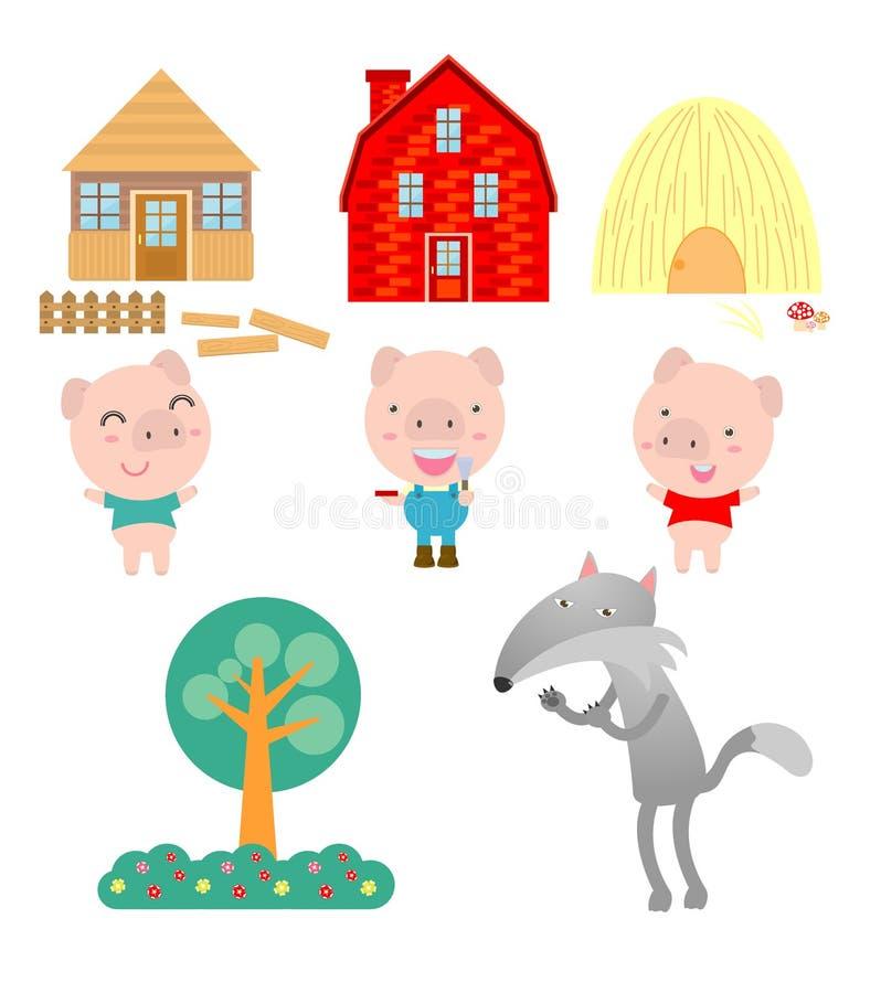 Drie kleine varkens op witte achtergrond, vectorillustratie stock illustratie