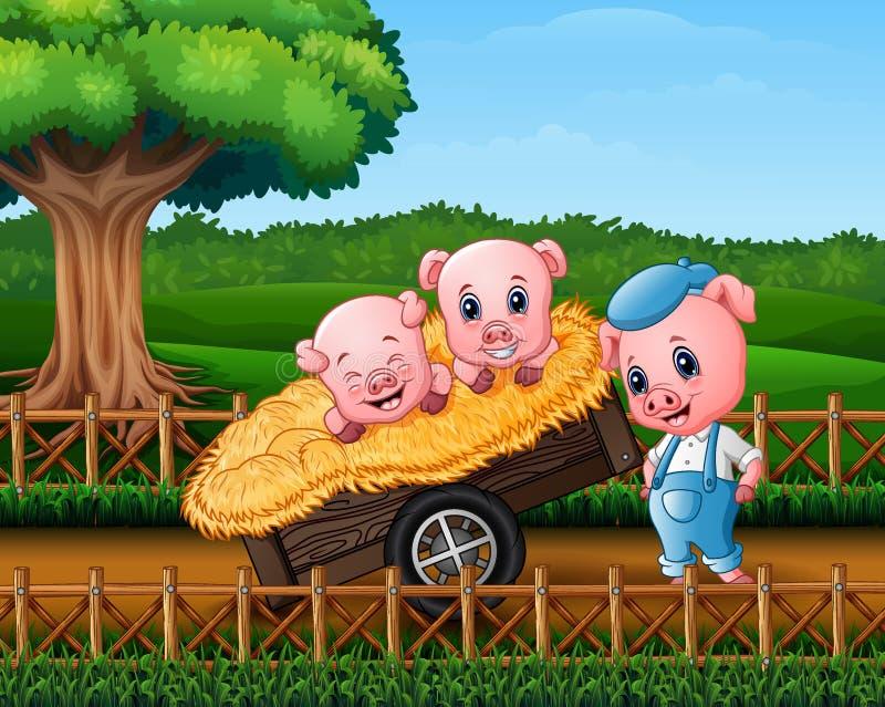 Drie kleine varkens zijn in de kar vector illustratie