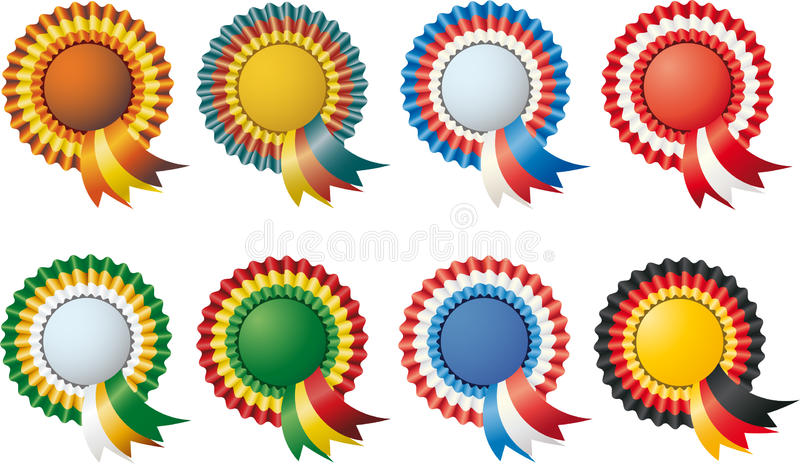 Drie-kleur etiketten royalty-vrije stock fotografie