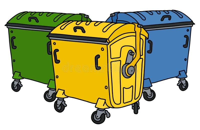 Drie kleur recyclingscontainers vector illustratie