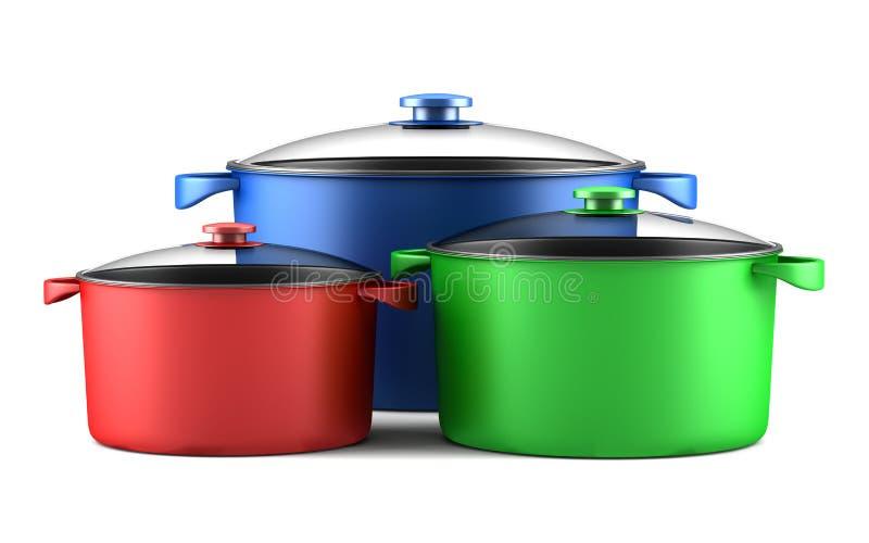 Drie kleuren kokende pannen op wit stock illustratie