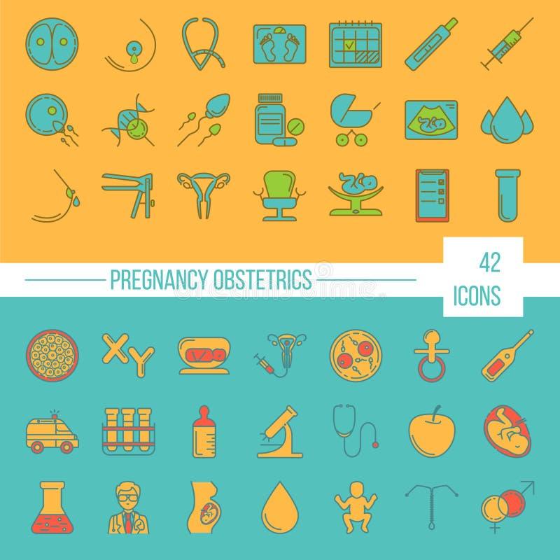 Drie kleurenpictogrammen op kartonmarkeringen stock illustratie