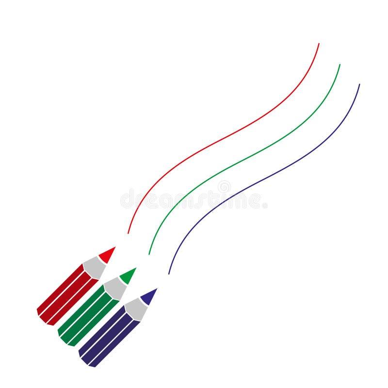 Drie kleurenpotloden die gebogen lijnen trekken stock illustratie