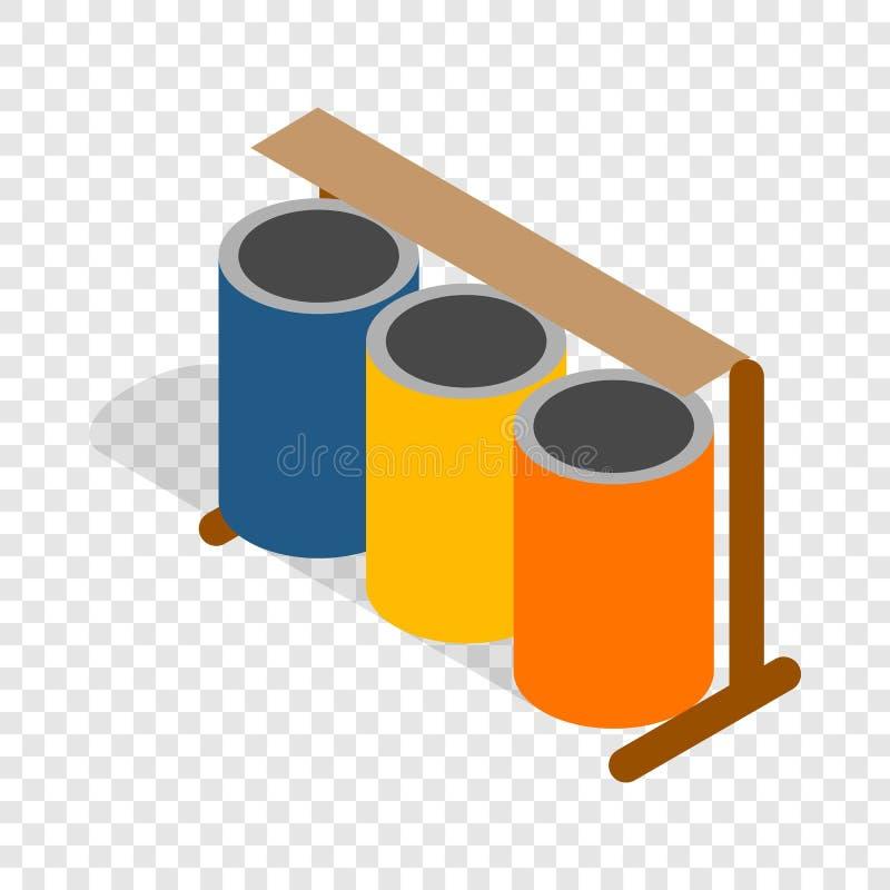 Drie kleurrijk selectief vuilnisbakken isometrisch pictogram vector illustratie