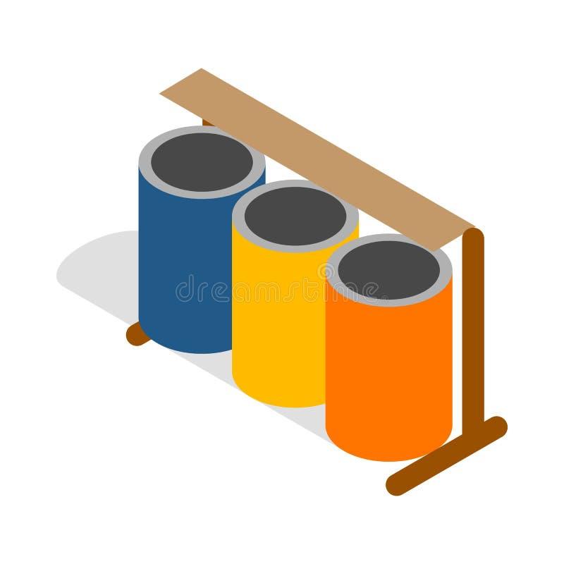 Drie kleurrijk selectief vuilnisbakkenpictogram vector illustratie