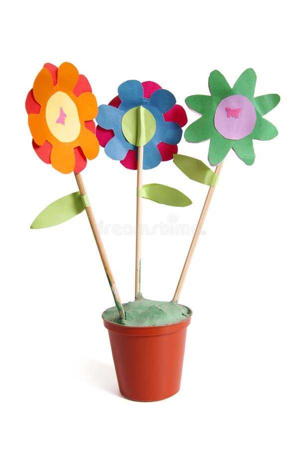 Drie kleurrijke document bloemen stock afbeelding