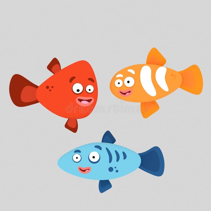 Drie kleurrijke vissen 3D Illustratie royalty-vrije illustratie