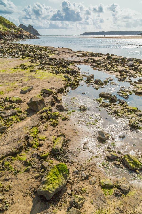 Drie Klippenbaai, Swansea, het UK royalty-vrije stock afbeelding