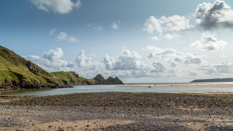 Drie Klippenbaai, Swansea, het UK stock afbeelding