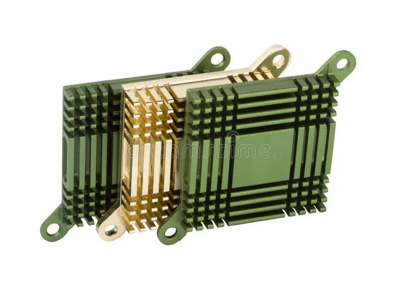 Drie koelers van de aluminiumcomputer stock afbeeldingen
