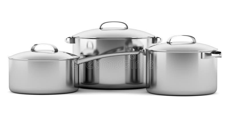 Drie kokende die pannen op wit worden geïsoleerd vector illustratie