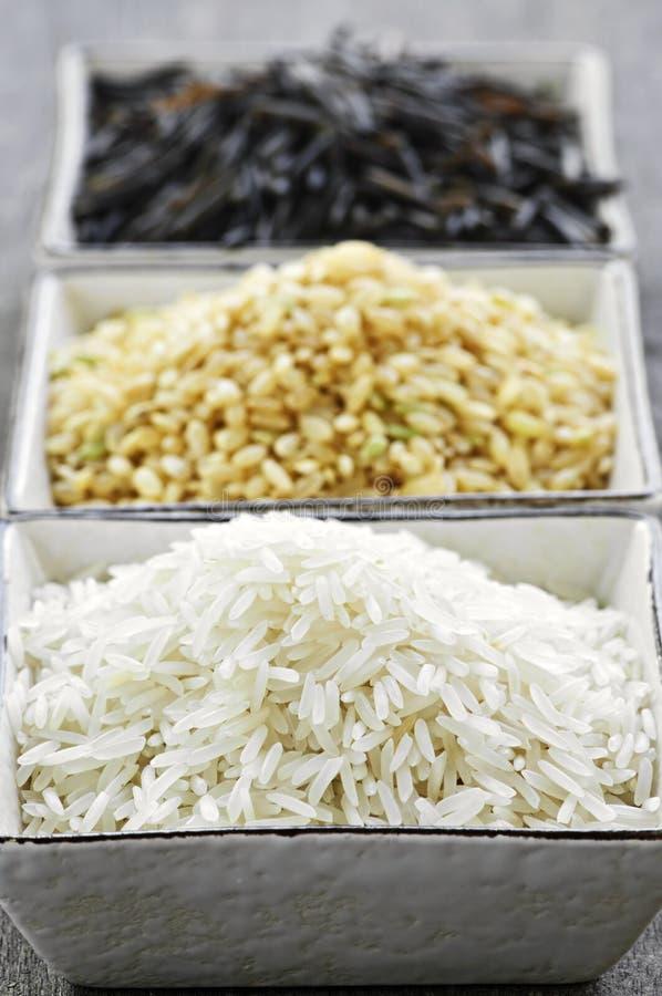Drie kommen rijst stock fotografie