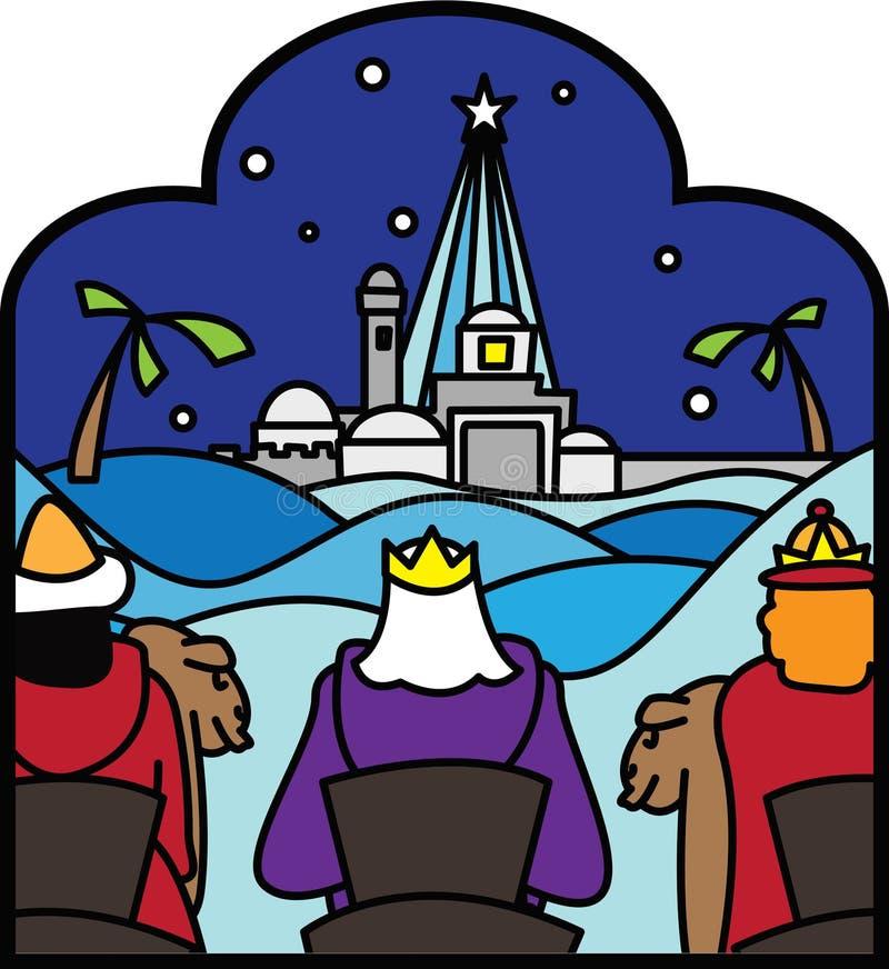 Drie koningen na ster royalty-vrije illustratie