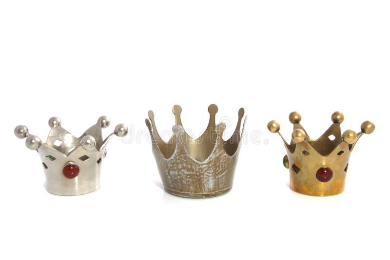 Drie kronen op een rij royalty-vrije stock fotografie