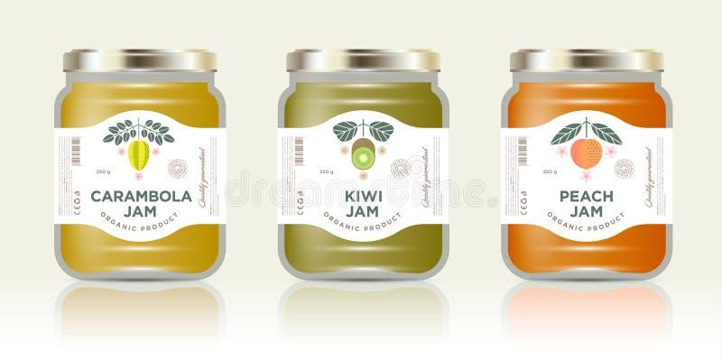Drie kruiken met de jam van het etikettenfruit Drie kruikenmodel Carambola of sterfruit, kiwi, perzikjam verpakking Vectorillustr royalty-vrije illustratie