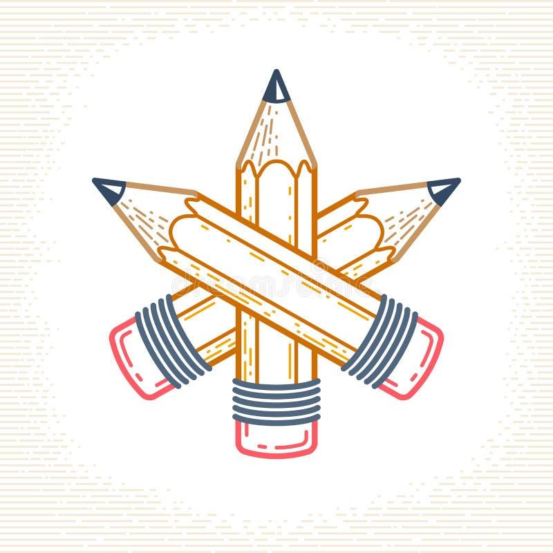 Drie kruisten potloden vector eenvoudig in embleem of pictogram voor ontwerper of studio, de creatieve concurrentie, ontwerperste vector illustratie
