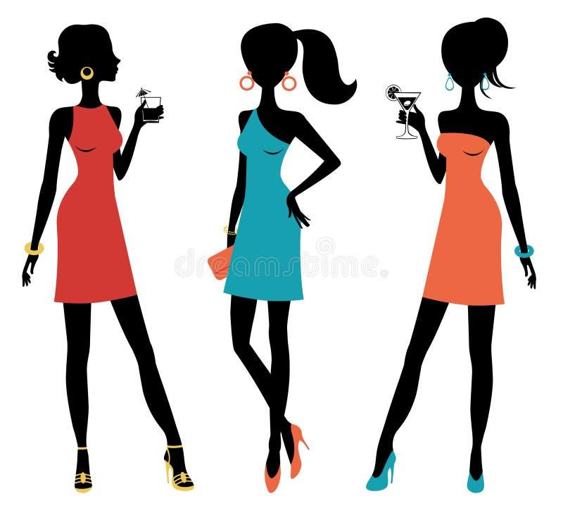 Drie kuikenvrouwen die bij een partij stellen stock illustratie