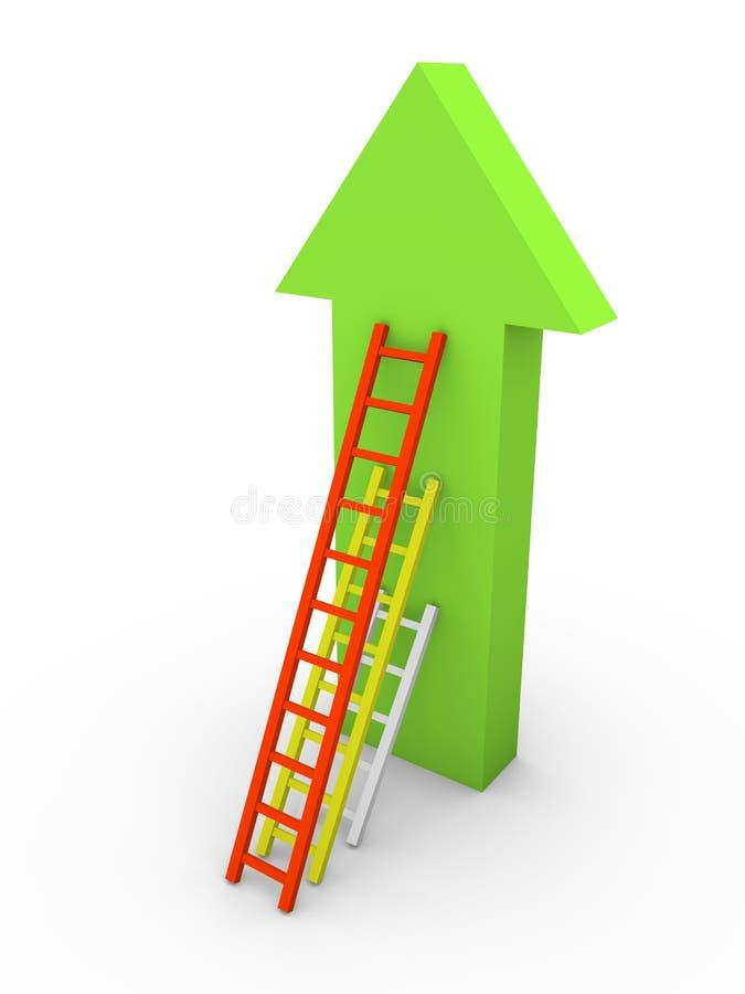 Drie ladders die met verschillende lengte de pijl leunen royalty-vrije illustratie