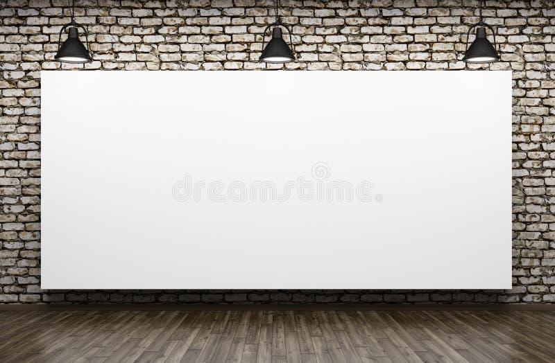 Drie lampen en affiche het binnenlandse 3d teruggeven als achtergrond stock illustratie