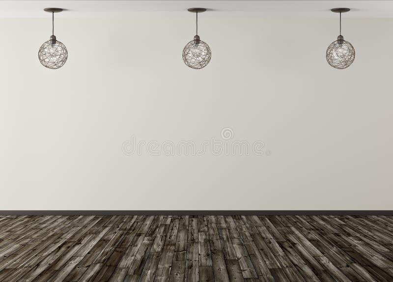 Drie lampen tegen van het beige muur 3d teruggeven als achtergrond vector illustratie