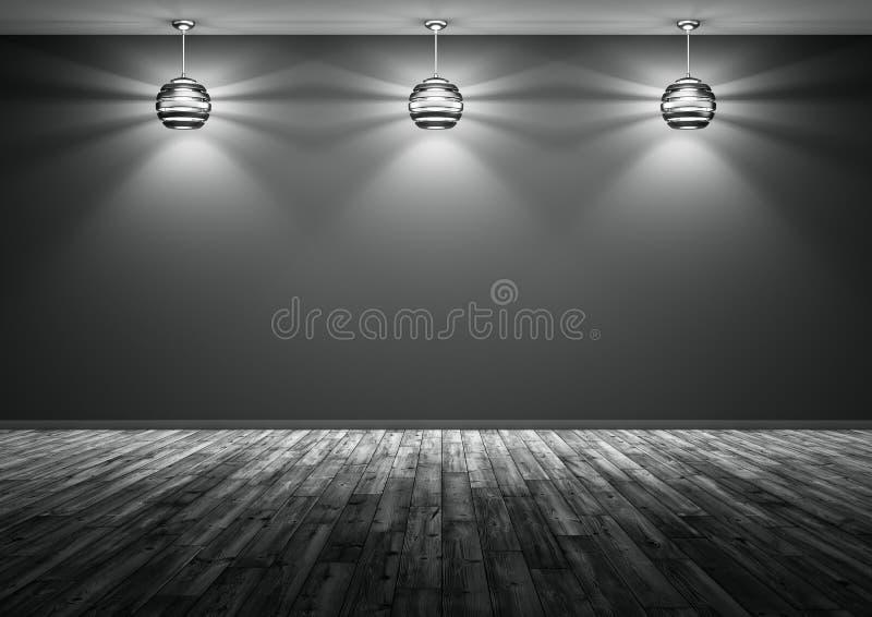 Drie lampen tegen van het zwarte muur 3d teruggeven als achtergrond royalty-vrije illustratie