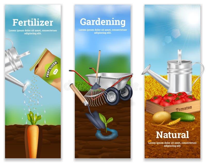 Drie landbouw Verticale Banners vector illustratie