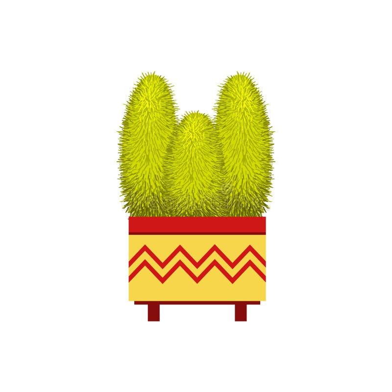 Drie Lange Cactussen in een Pot vector illustratie
