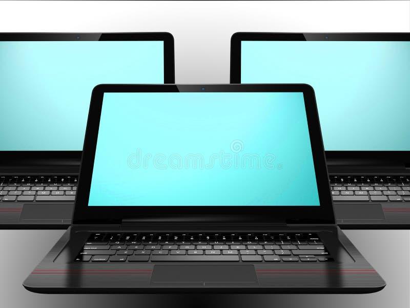 Drie laptops met het blauwe scherm royalty-vrije stock afbeelding