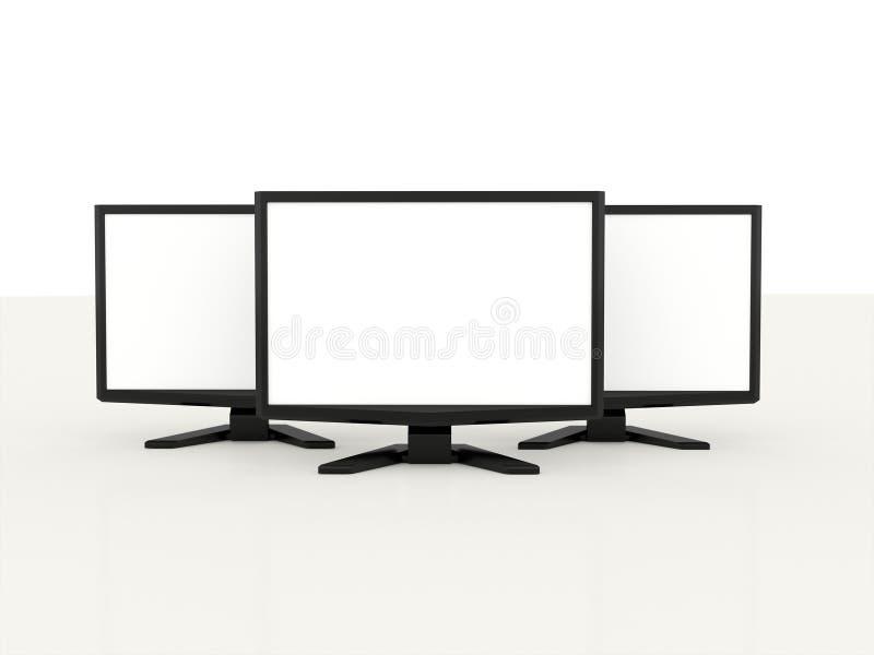 Drie LCD monitors met het witte scherm royalty-vrije illustratie
