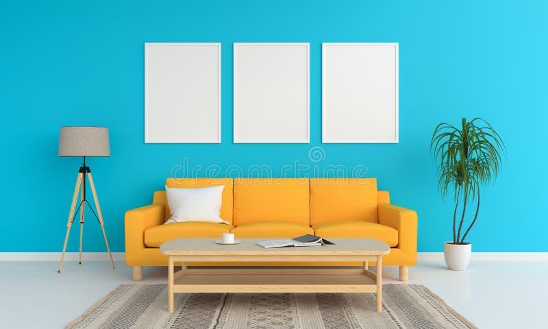 Drie leeg fotokader in woonkamer, het concept van de de zomerkleur, het 3D teruggeven stock illustratie