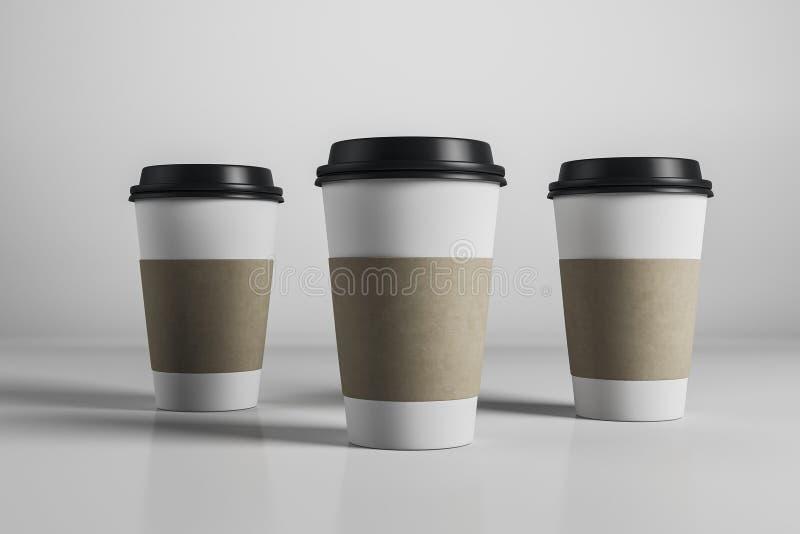 Drie lege koffiekoppen royalty-vrije illustratie